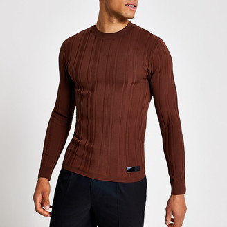 River Island Rust muscle fit long sleeve rib knitted top