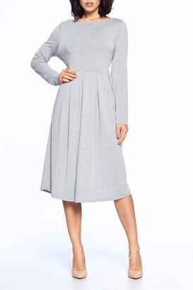 WEST KEI Boatneck Long Sleeve Midi Dress
