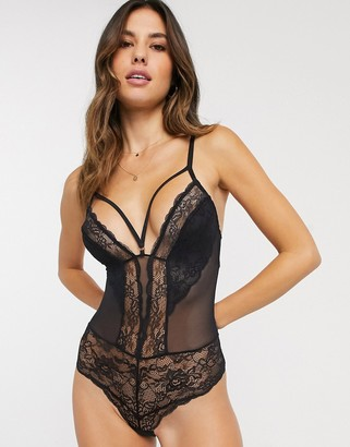 Dorina Eden recycled lace body with strapping in black