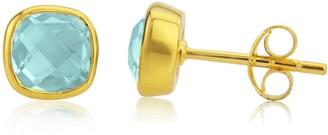 Auree Jewellery Brooklyn Gold & Blue Topaz Cushion Stud Earrings