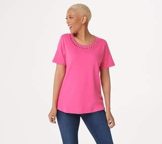 Factory Quacker Knit T-Shirt with Soutache Neckline