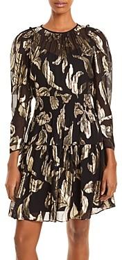 Rebecca Taylor Datura Metallic Print Dress