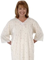 Silverts Disabled Elderly Needs Womens Soft Knit Adaptive Pattern Hospital Gown - Open Back - 2XL