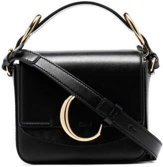 Chloé black C ring top-handle leather shoulder bag