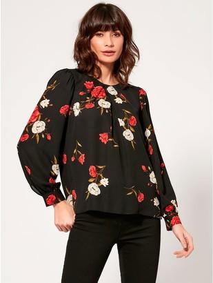 M&Co Floral pleat front blouse