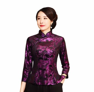 ACVIP Women's Fall Winter Velvet Qipao Top Stand Collar Half Sleeve Chinese Shirt Blouse (Purple Leaves UK 14/Chinese 2XL)