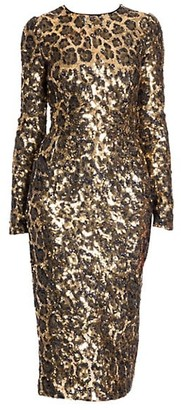 Dolce & Gabbana Leopard Sequin Long Sleeve Dress
