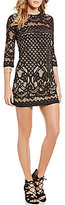B. Darlin Border Pattern Lace Sheath Dress
