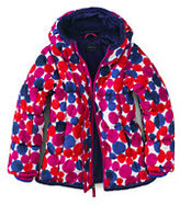 Classic Little Girls Printed Puffer Jacket-Magenta Rose Large Dots