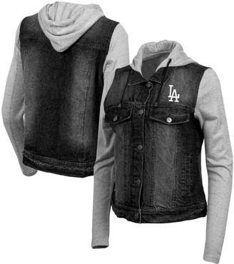 Antigua Women's Black/Heathered Gray Los Angeles Dodgers Swag Jean Bomber Jacket