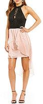Jodi Kristopher High Neck Lace Color Block Lace-Up Detail Ruffle High-Low Hem Dress