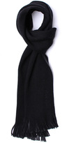 Boss Albas Black Two Tone Knitted Wool Scarf