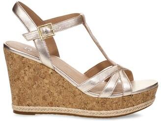 UGG Melissa Metallic Leather Wedge Sandals