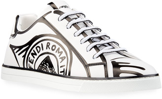 Fendi Men's Roma Sketch-Print Leather Sneakers