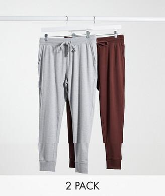ASOS DESIGN 2 pack super skinny lightweight joggers in brown/grey marl