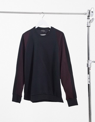 Karl Lagerfeld Paris textured knit sweater with contrast raglan sleeves