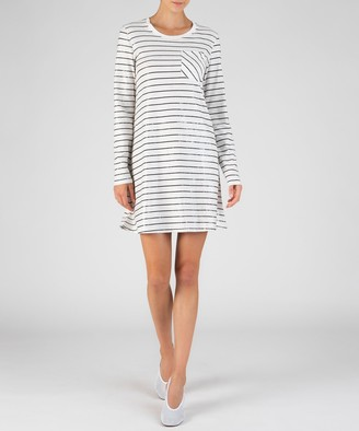 Atm Sparkle Striped Long Sleeve Dress - Chalk/ Black Combo