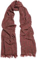 Etoile Isabel Marant Frayed Wool And Cashmere-blend Scarf - Burgundy