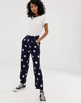 Pepe Jeans Luciana polka dot wide leg trousers-Navy