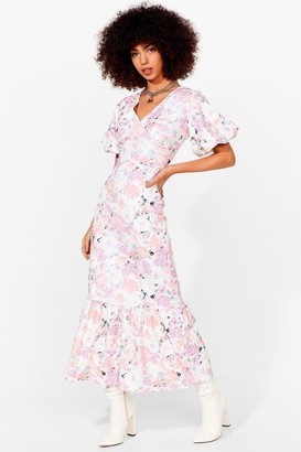 Nasty Gal Womens As Time Rose By Floral Midi Dress - Beige - 6, Beige