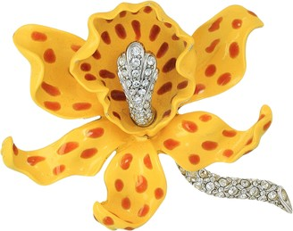 Kenneth Jay Lane Yellow/Brown Spots Orchid Pin Yellow/Brown One Size