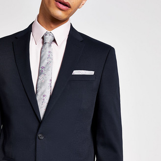 River Island Navy textured stretch skinny suit jacket