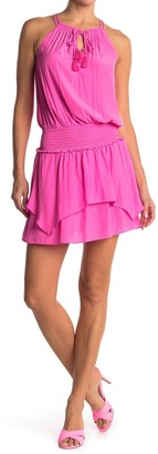 Ramy Brook Rubie Keyhole Blouson Smocked Mini Dress