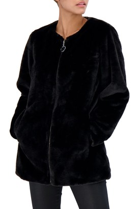 Sebby Collection Collarless Reversible Faux Fur Jacket