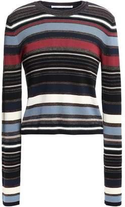 Veronica Beard Palmas Metallic Striped Stretch-knit Sweater