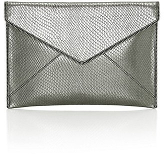 Rebecca Minkoff Leo Lizard-Embossed Metallic Leather Envelope Clutch