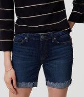 LOFT Curvy Denim Bermuda Shorts in Rich Dark Indigo Wash