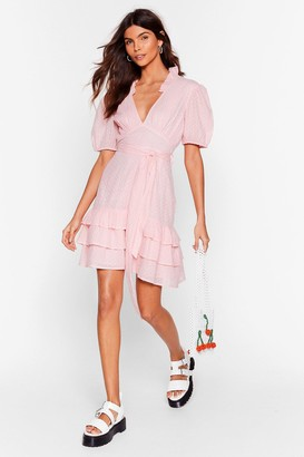 Nasty Gal Womens Tier for You Ruffle Belted Mini Dress - Baby Pink