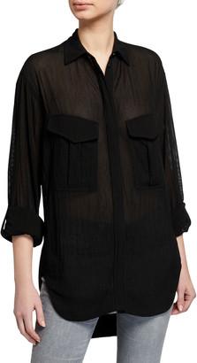 Rag & Bone Florian Button-Front Roll-Sleeve Shirt