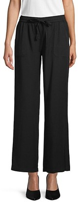 Pure Navy Drawstring Wide-Leg Pants