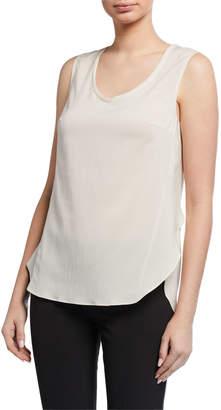 Brunello Cucinelli Side-Slit Sleeveless Top, Cream