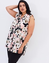 Floral Print Ruffle Sleeveless Shirt