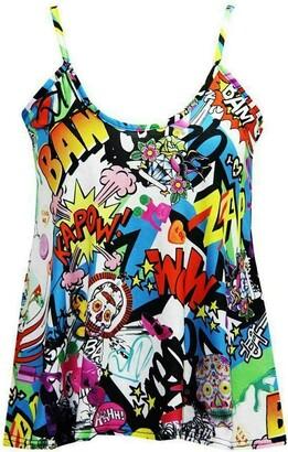 FASHION 7STAR Plus Size Womens Plain Strappy Sleeveless Ladies Swing Cami Vest Camisole Flared Mini Top UK 8-26 (Bang Print UK 20-22)