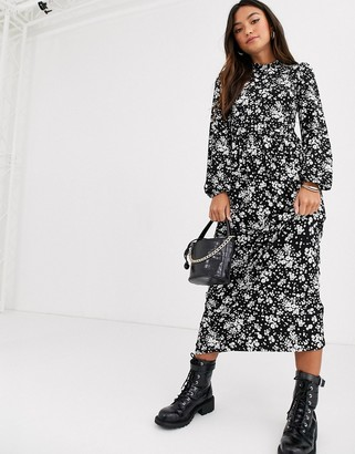 New Look high neck dress in dark base ditsy floral