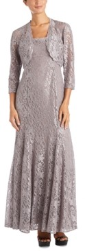 R & M Richards Scalloped Glitter-Lace Dress & Shrug