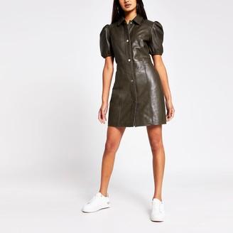 River Island Womens Khaki puff sleeve leather shirt dress