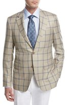 Canali Windowpane Check Sport Coat, Tan/Blue