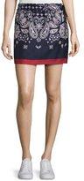 Moncler Gona Silk Satin Bandana Skirt, Navy