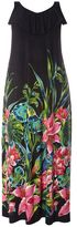 Evans Black Tropical Print ITY Maxi Dress