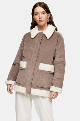 Topshop Grey Padded Corduroy Jacket