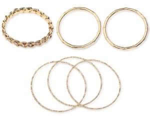 Thalia Sodi Gold-Tone 6-Pc. Set Crystal, Bamboo & Textured Bangle Bracelets, Created for Macy's