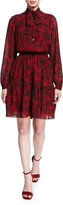 MICHAEL Michael Kors Chantilly Tie-Neck Long-Sleeve Tiered Dress