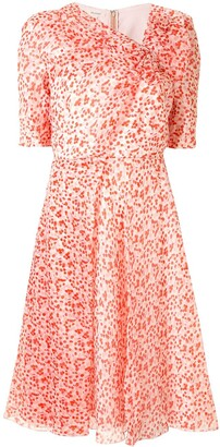 DELPOZO Dotted-Print Silk Dress