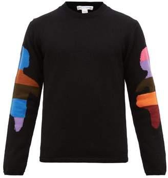 Comme des Garcons Patchwork Arm Jacquard Wool Blend Sweater - Mens - Black