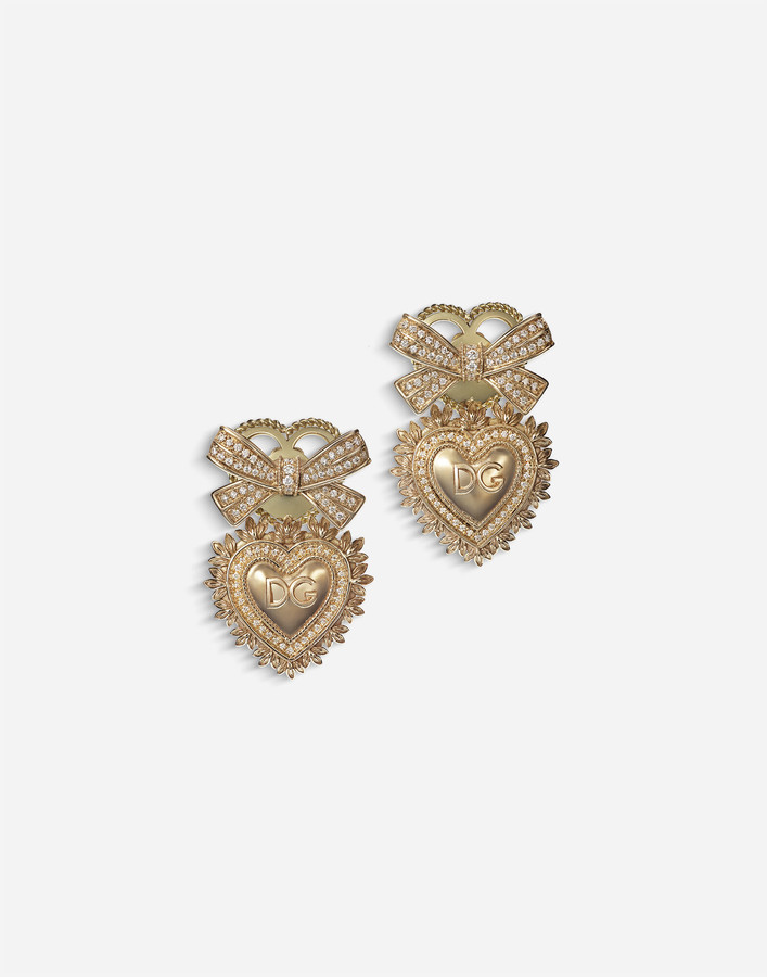 Dolce & Gabbana Devotion Earrings In Yellow Gold With Diamonds
