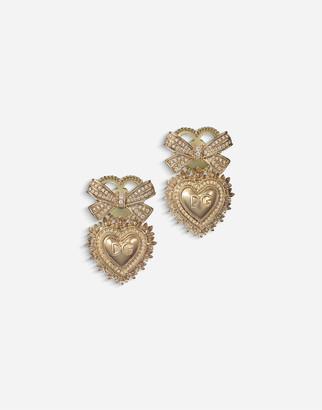 Dolce & Gabbana Devotion Earrings In Yellow Gold With Diamonds